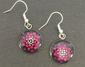 Hand-painted round dot art mandala earrings, purple, detailed in silver version, light & playful, hippie, delicate, filigree
