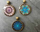 small dotted mandala pendant, glittering hand painted dot art unique piece, gift for her, dot painting, Christmas gift