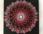 Hand Dot Art Canvas, Red, Pink & Pink, Dot Mandala Painting, Unique, Gift, Point Painting, Meditation, Yoga, Wallart