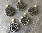 Dotted mandala pendant, hand painted dot art unique piece, unique, grey, dot painting in silver version, gift