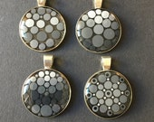 Special dot pendant, hand painted dot art unique piece, mandala, unique, grey and shiny, dot painting, gift