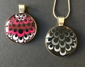 Handpainted mandala pendant, dot art unique piece, unique, grey & pink, dot painting, resin in silver version, special gift