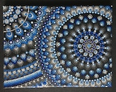 Mandala canvas hand painted, blue dot painting, dot art, gift, unique, wall art, 18 x 24 cm, meditation, anti-stress