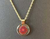 Dotted mandal pendant, necklace in desired length, gold colors, dot art pattern, round pendant in gold version, dot painting