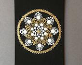 hand painted mandala postcard, dot painting, Christmas card, dot art, gift, unique, meditation