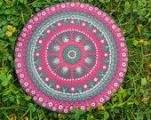 Hand Painted Dot Mandala Canvas, Round, Pink and Black, Anti-Stress, 20 cm Diameter, Focus Meditation, Yoga Studio Decor