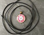 Handmade Dot Mandala Pendant, with Leather Strap, Hand Painted Single Piece, Dot Art Unique, Pink, Point Painting, Bronze, Yoga Gift
