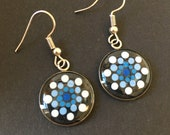 Hand-painted dot art mandala earrings, gift, blue, detailed, in silver version, round, light & playful, delicate, filigree