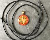 Dot Mandala Pendant, Hand Painted Single Piece, Dot Art Unique, Orange, Dot Painting, Bronze Holder, Handmade Gift
