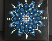 Mandala canvas hand painted, blue dot painting, dot art, gift, unique, wall art, 20 x 20 cm, relaxation, square, stretcher