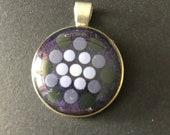 Unique Dot Mandala Pendant, with Silver Chain, Hand Painted Dot Art Single Piece, Unique, Purple, Point Painting, Gift