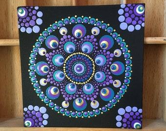 Hand Dot Art Canvas, Purple & Turquoise, Dot Mandala Painting, Unique, Gift, Point Painting, Meditation, Yoga, Wallart