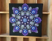hand painted dot art canvas with dot mandala painting, unique with hanger, gift, point painting, meditation, yoga, wallart