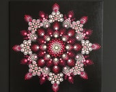hand painted dot art canvas with mandala painting, black & pink, acrylic paint, unique with hanger, gift, dot painting, meditation, yoga