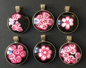 Dotted pendant, flowers, dot art, hand-painted round unique piece, unique, with silver chain 40 cm, pink, pink & black