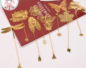 Butterfly/Dragonfly/Cicada/Ginkgo/Lotus/Maple Leaf/Four Leaf Clover Bookmark,Insect /Plant Bookmark,Gift for Her,Kids School Bookmask