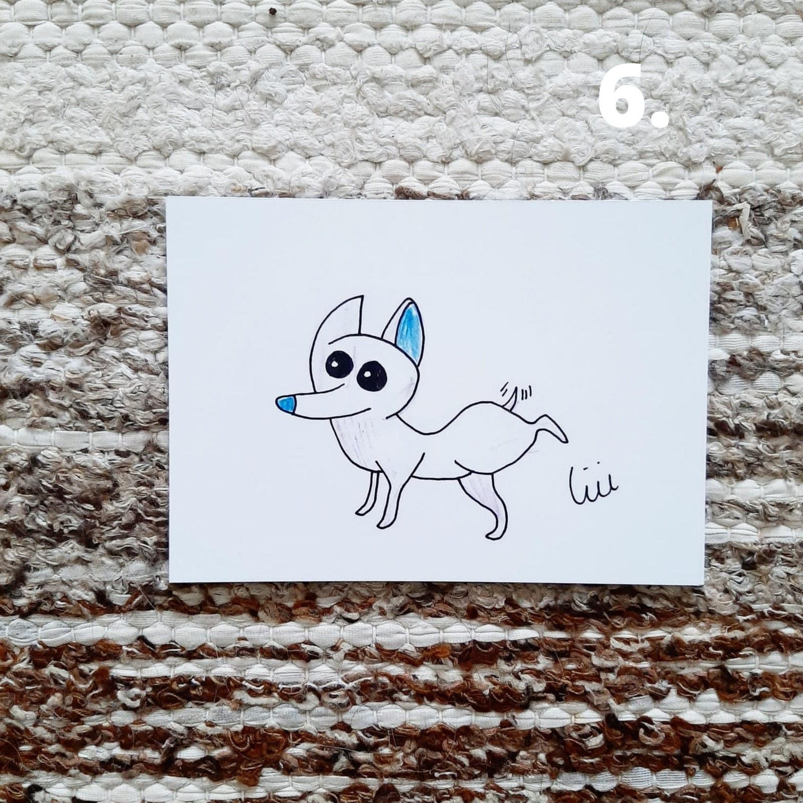 a6 hund illustration einfach hund kunstwerk buntstift hund