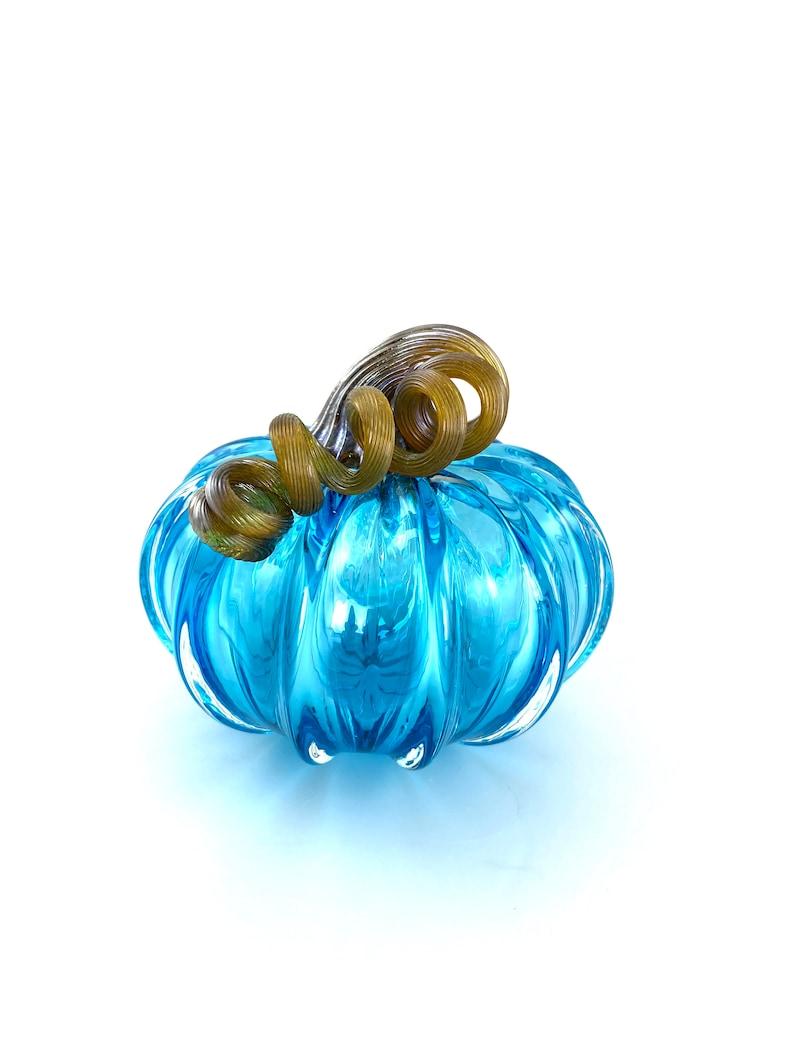 3.5\u201d Sky Blue Small Glass Pumpkin