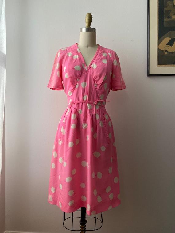 1980s Couregges Paris Pink Print Silk Dress Vinta… - image 2