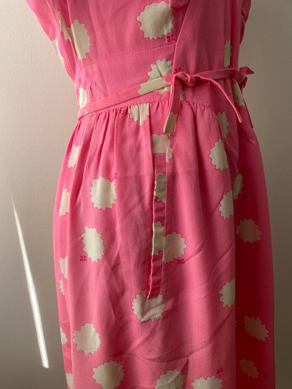 1980s Couregges Paris Pink Print Silk Dress Vinta… - image 5