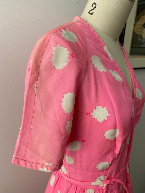 1980s Couregges Paris Pink Print Silk Dress Vinta… - image 7
