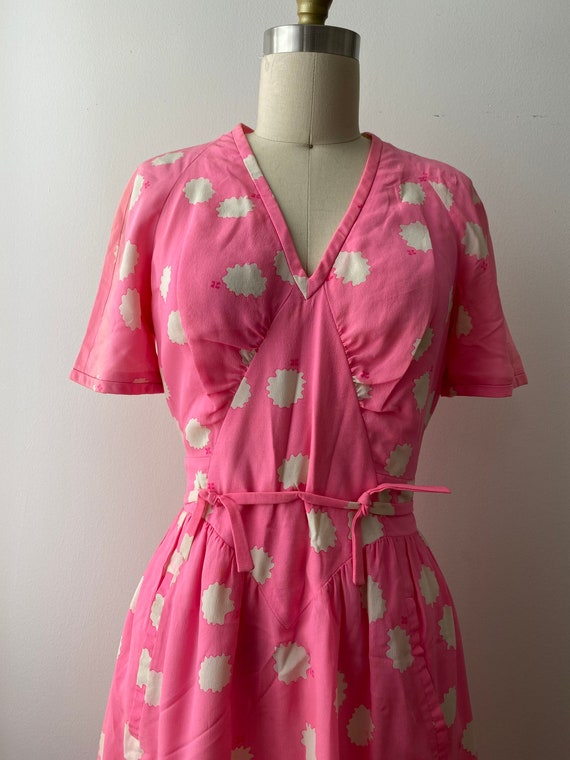 1980s Couregges Paris Pink Print Silk Dress Vinta… - image 6