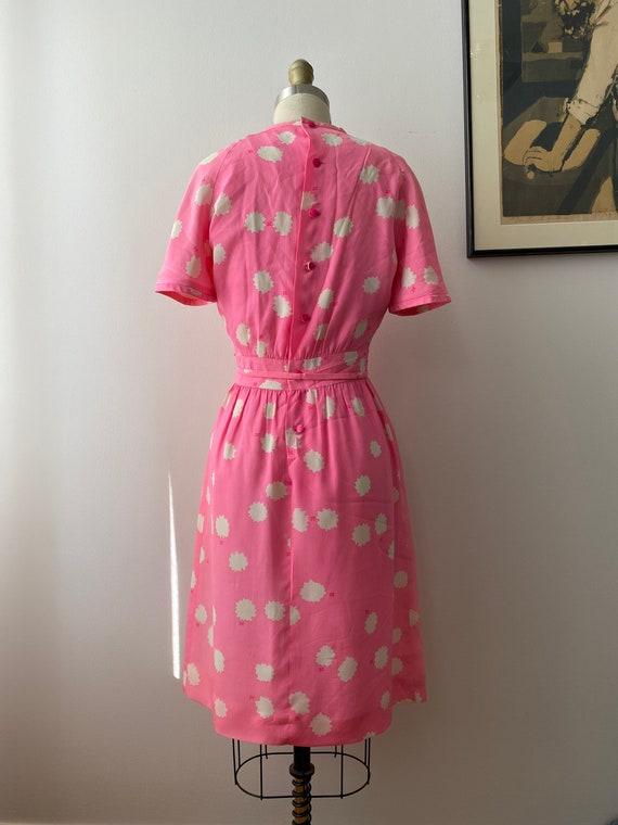 1980s Couregges Paris Pink Print Silk Dress Vinta… - image 4