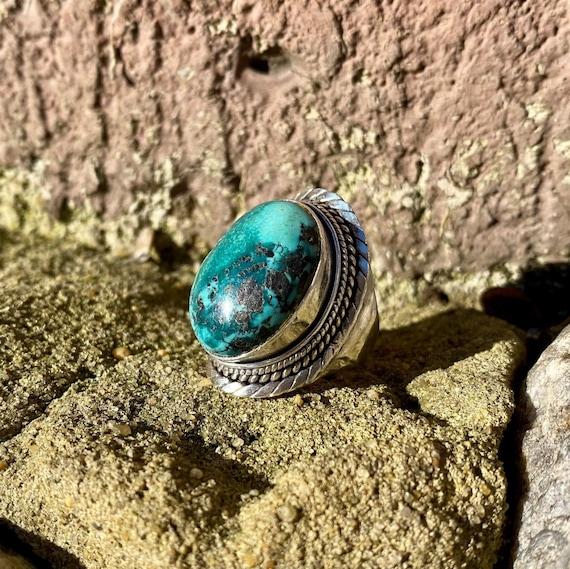 Turquoise Stone Ring Natural Turquoise Ring,Sterling Silver Ring Tibetan Navajo Ring Bohemian Ring 30 Turquoise Ring Turquoise Ring