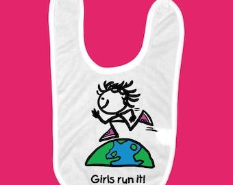 Girls Run It! Baby Bib