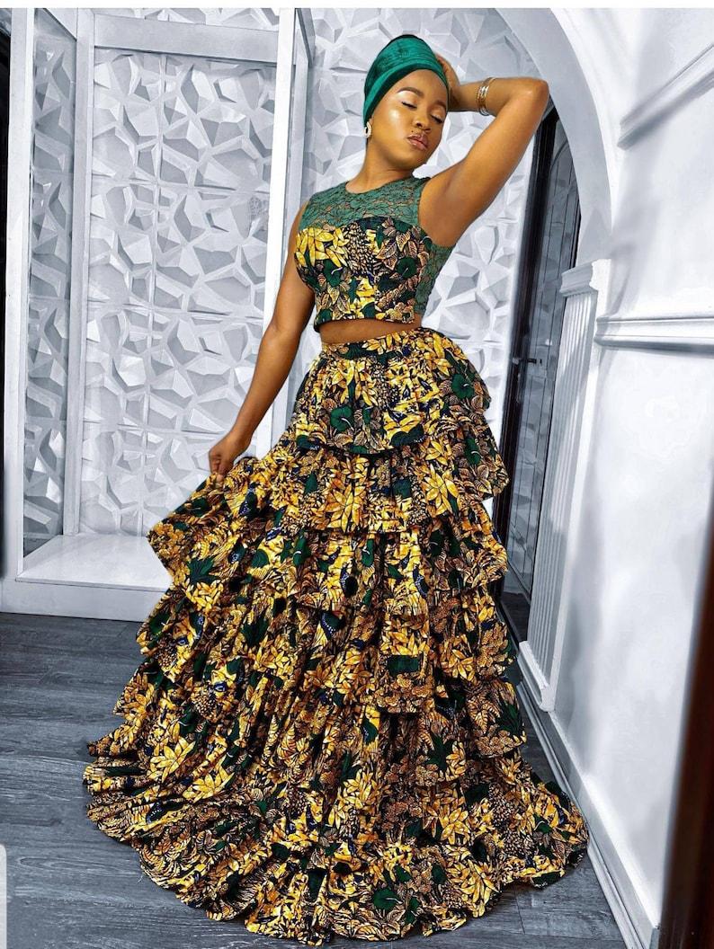Ankara porm party dress African wedding dress African clothing for women African maxi long skirt and crop  top