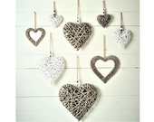 Large Medium Small Wicker Rattan Bead Hanging Heart Filled Wreath Shabby Chic Vintage