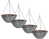 4 x 10 quot Natural Grey Wash Wicker Hanging Basket Lined Rattan Willow Planter