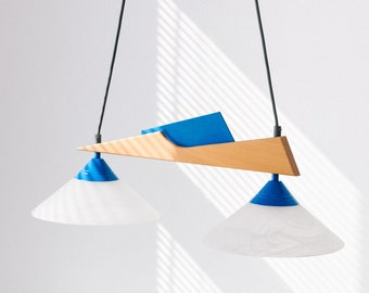 German pendant lamp in Memphis design of the 80s 70s by Holzapfel