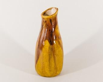 Signed Yellow Studio Ceramic Vase 60s in Mid Century Design