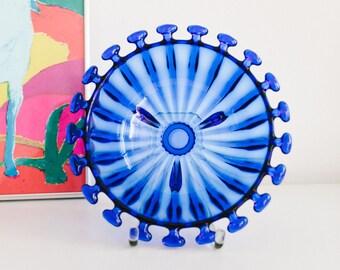 Pressed glass bowl, VEB Glaswerk Schwepnitz in design by Fritz Keuchel, GDR 70s with ball edge lapis lazuli blue