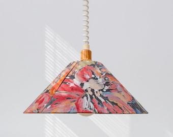 American 80s Floral Pattern Pendant Lamp in Memphis Mid Century Design
