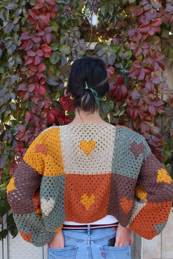 Mother/'s Day Crochet Long Sleeve Cardigan Gift Birthday Gifts Hand Knitted Patchwork Multicolored Clothing Unisex Granny Square Cardigan