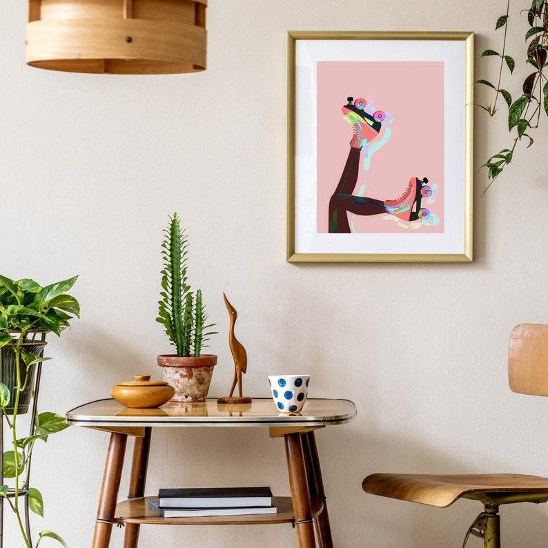 Pink and Brown Roller Skates Original Giclee Art Print Roller image 0