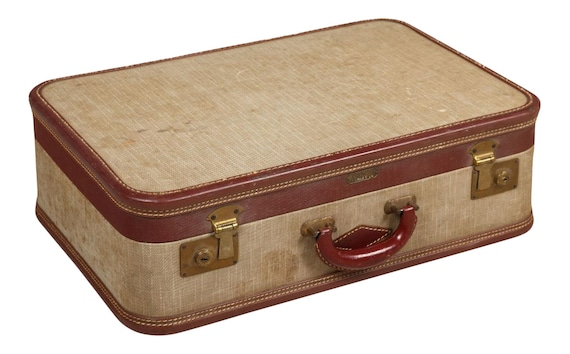1940s Vintage Linen Suitcase