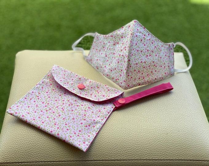 Mask Pack & Bag Transport / Keeps 100% Pink Cotton
