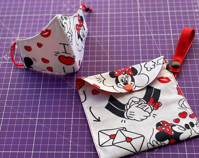 Mask Pack & Bag Transportation / Keeps 100% Minnie Mouse Cotton