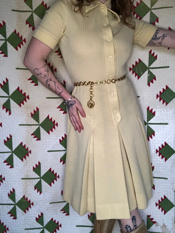 Sz M 1970's Butte Knit Shirt Dress With Pleated Sk