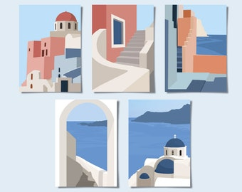 Handmade Block Print Minimalist Abstract Arch Print Postcard 4x6 Mid-century Modern Art Set of 5 Geometric