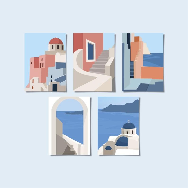 Santorini Greece Minimalist Postcard Set of 5  Available Set of 5
