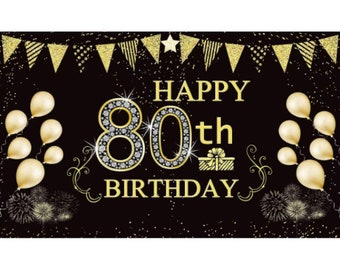 PAKBOOM Happy 80th Birthday Backdrop Pink Photo Background Banner Cheers to 80 Years Old Decorations Party Supplies