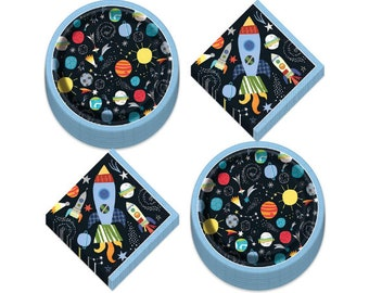 Space Party Tableware Set - Galaxy Decor Space Decor Astronaut Party Outer Space Rocket Party Astronaut Decorations Space Birthday
