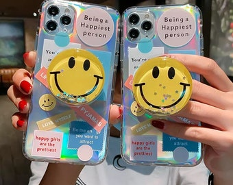 Holographic Glitter Smiley Face iPhone Case, Retro Label Phone Case with Stand, iPhone 13 Case, iPhone 12,iPhone 12 Pro Max, iPhone 11, XS