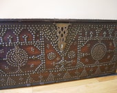 Antique Moroccan Dowry Wedding Chest Trunk, Tribal, Primitive