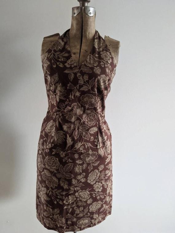 Vintage Ralph Dress Halter Cotton Floral Brown - image 7