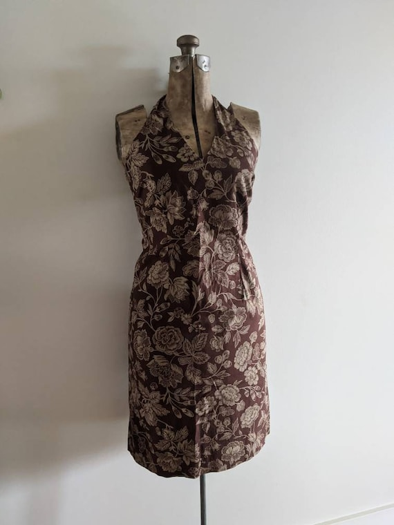 Vintage Ralph Dress Halter Cotton Floral Brown - image 1
